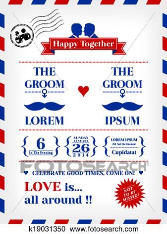 Clipart Schwule Hochzeitskarten K19031350 Suche Clip Art