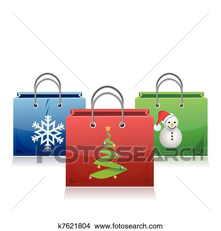 clipart of set of christmas shopping bags k7621804 search clip art rh fotosearch com Christmas Shopping Background Early Christmas Shopping Clip Art