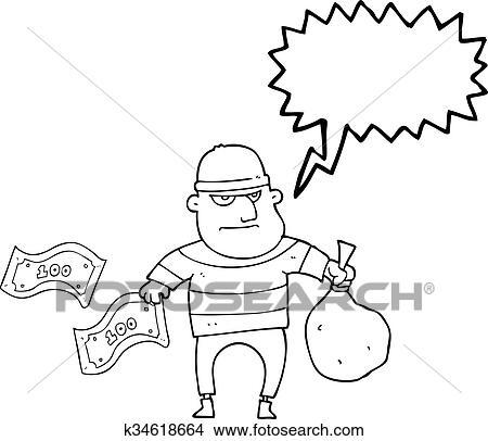 Clipart Of Speech Bubble Cartoon Bank Robber K34618664