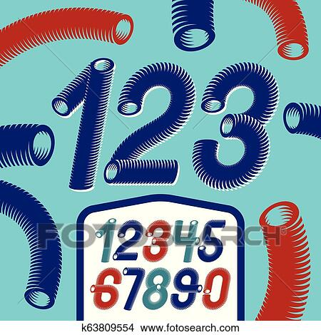 Trendy vector numerals collection  Modern italic funky numbers from 0 to 9  best for use in logo, poster creation  Created with hosepipe style,