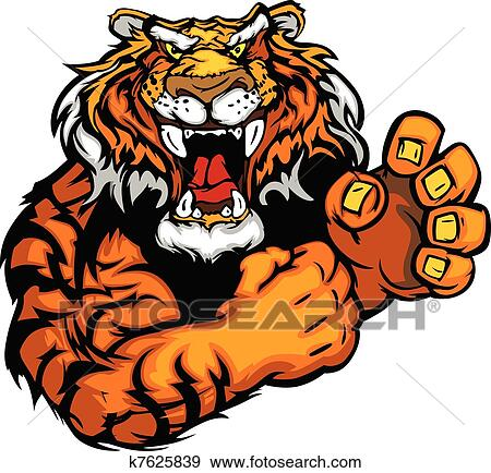 clip art of vector image of a tiger mascot k7625839 search clipart rh fotosearch com clemson tiger mascot clipart