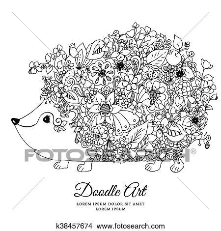 Clipart Vektor Abbildung Zentangl Igel Mit Flowers