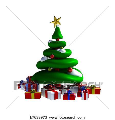 Colorful Christmas Ornaments Drawings.3d Christmas Tree Drawing