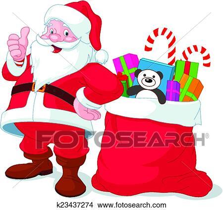 Immagini Babbo Natale Con Sacco.Babbo Natale Con Sacco Pieno Di Regali Clipart