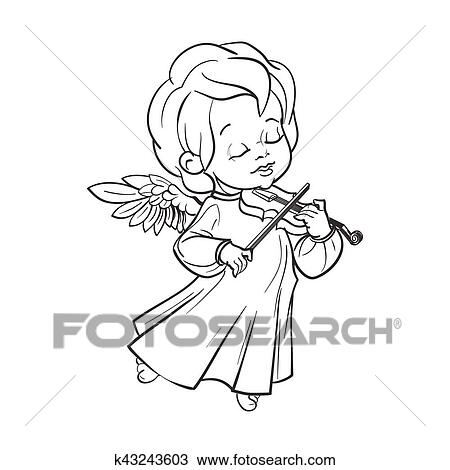 Cute Baby Angel Making Music Playing Violin Clipart