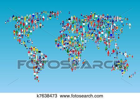 Cartina Mondo Con Bandiere.Globalisation Mappa Mondo Con Persone Fatto Da Bandiere Disegno K7638473 Fotosearch