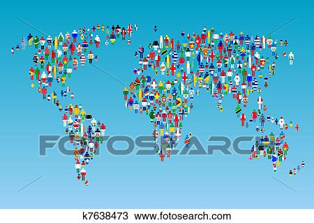 Drawing of globalisation world map with people made from flags drawing globalisation world map with people made from flags fotosearch search clipart gumiabroncs Gallery