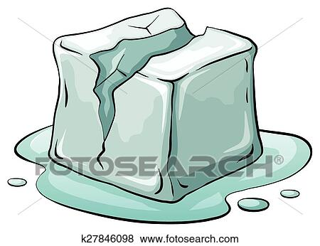Clip Art Of Ice Cube K27846098 Search Clipart Illustration