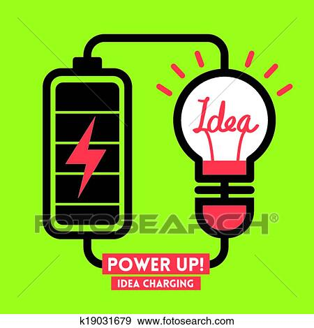 Clip Art Of Lightbulb Idea Charging Battery Power Vector K19031679