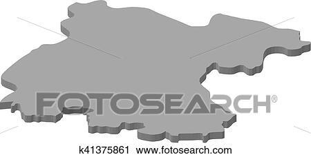 Mexico Map Guanajuato.Clipart Of Map Guanajuato Mexico 3d Illustration K41375861
