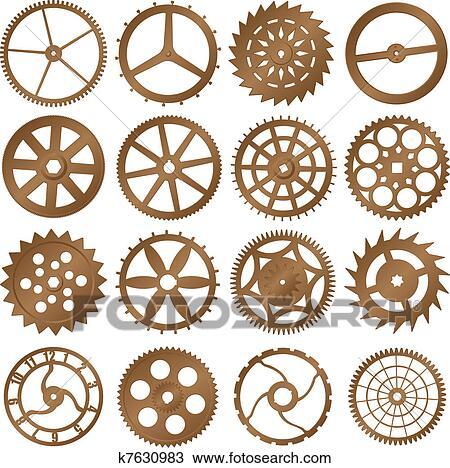 Clipart , set, di, vettore, disegni elementi, ,, orologio, ingranaggi