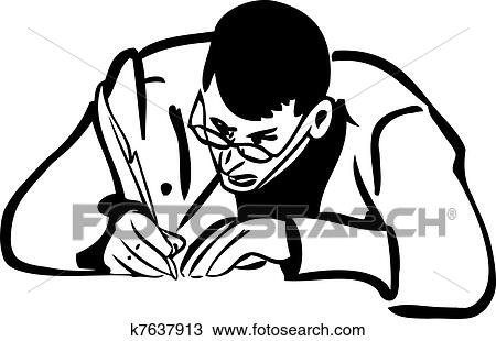 Clipart Of Sketch Of A Man With Glasses Writing Quill Pen K7637913