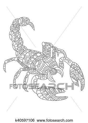 Clip Art - skorpion, färbung, vektor, für, erwachsene k40597106 ...