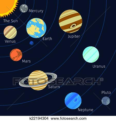 Clipart of solar system background k22194304 search clip art solar system background with sun planet orbits and stars vector illustration ccuart Images