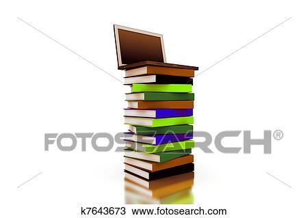 3d Ordinateur Portable Dessus A Tas De Livre Dessin