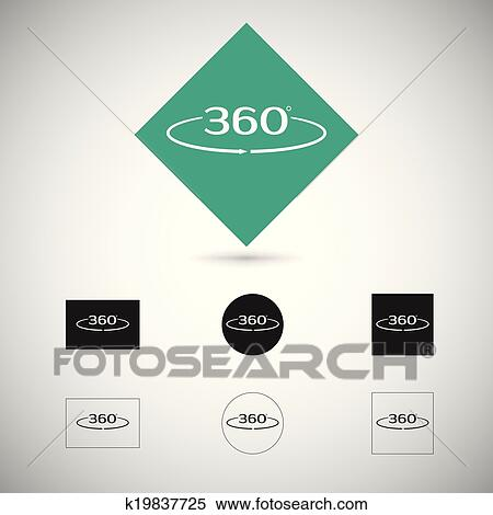 Clipart Of Angle 360 Degrees Sign K19837725 Search Clip Art