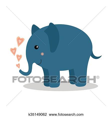 Cartone animato animale carino elefante bambino con cuori