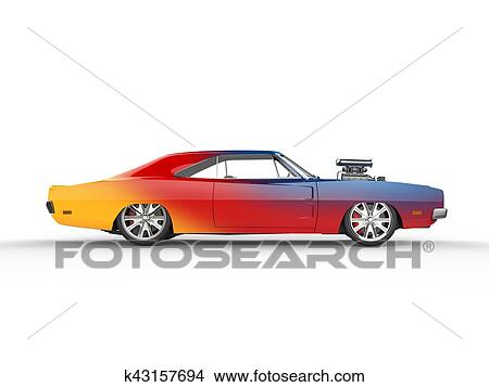 drawings of colorful vintage muscle car - side view k43157694