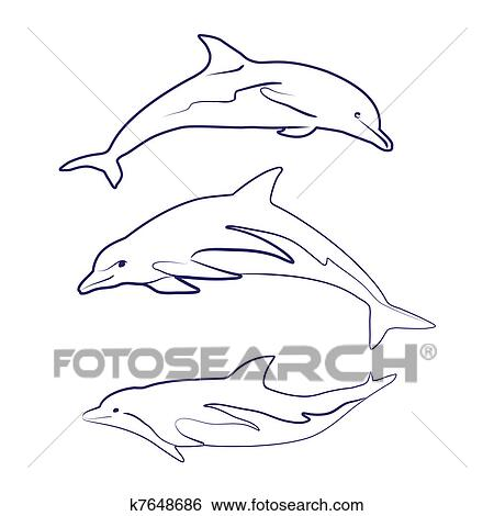 clip art of dolphin silhouettes k7648686 search clipart