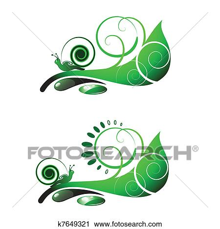 Clipart escargot sur feuille k7649321 recherchez des - Clipart escargot ...