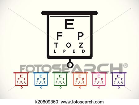 Clipart Of Eye Chart Test Illustration K20809860 Search Clip Art