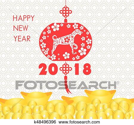 clip art happy chinese new year 2018 card year of dog fotosearch