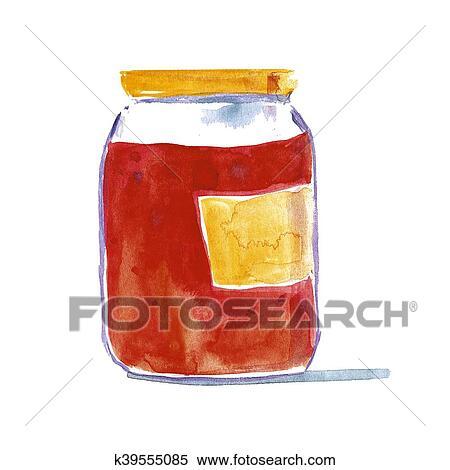 Jar of homemade marmalade Strawberry jam Stock Illustration