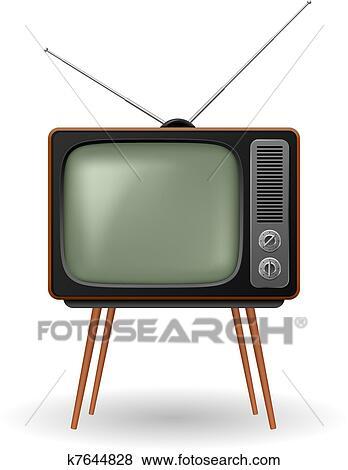 Clip Art of Old-fashioned retro TV k7644828 - Search ...