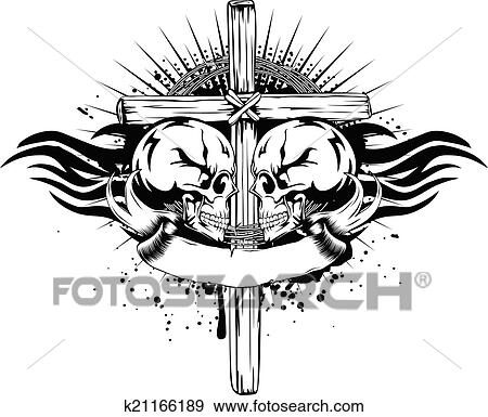 Clip Art Of Skulls Cross Tribal K21166189 Search Clipart