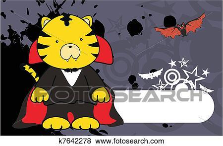 Tiger dracula cartone animato fondo clip art k