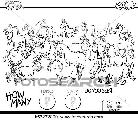 Counting horses and goats game color book Clipart ...