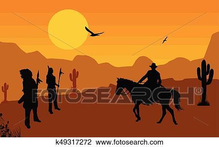 cowboy, und, índianer, auf, wilder westen clipart