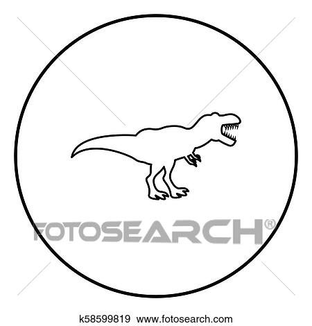 Clip Art Of Dinosaur Tyrannosaurus T Rex Icon Black Color In Circle
