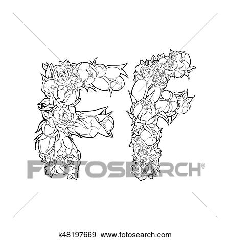 Clip Art Of Flower Alphabet The Letter F K48197669 Search Clipart