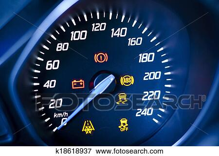 Picture Of Fragment Of Instrument Panel Of Car Speedometer