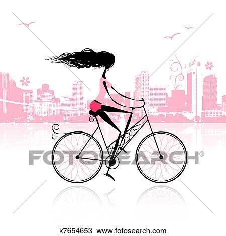 Clipart Of Girl Cycling In The City K7654653 Search Clip Art