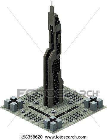 Isometric futuristic sci-fi architecture, modern building  3D rendering  Clipart