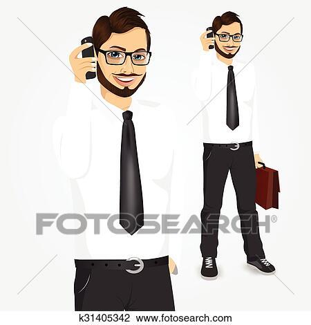 Clipart Moderno Hipster Uomo Affari Parlando Telefono K31405342