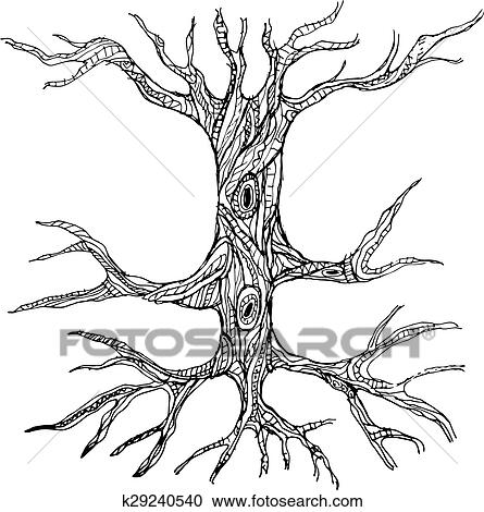 Ornate Bare Tree Trunk With Roots Clipart K29240540 Fotosearch
