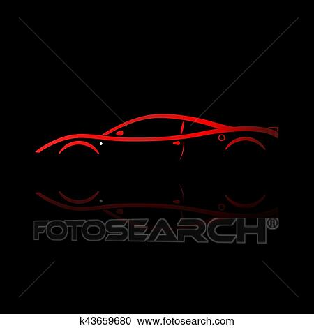 Clipart Of Red Sport Car Silhouette K43659680 Search Clip Art