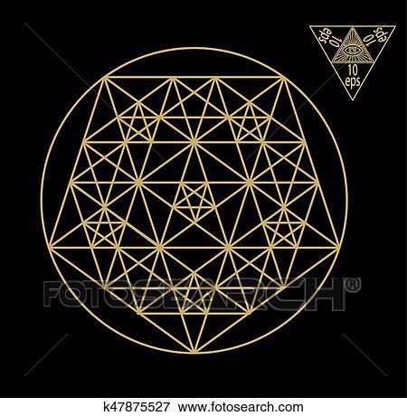 Sacred geometry symbols and signes vector illustration  Hipster tattoo   Flower of life symbol  Clip Art