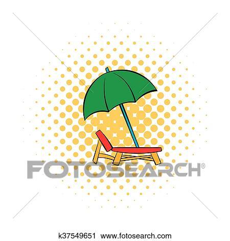 Sonnenschirm strand comic  Clipart - stuhl, und, sonnenschirm, symbol, comics, stil k37549651 ...