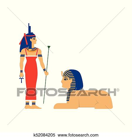 Clipart Of Vector Flat Isis Egypt Goddes And Sphinx K52084205