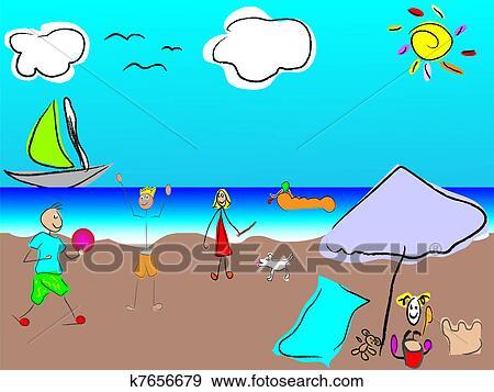 Clip Art Vektor Lustig Familie Strand K7656679 Suche Clipart
