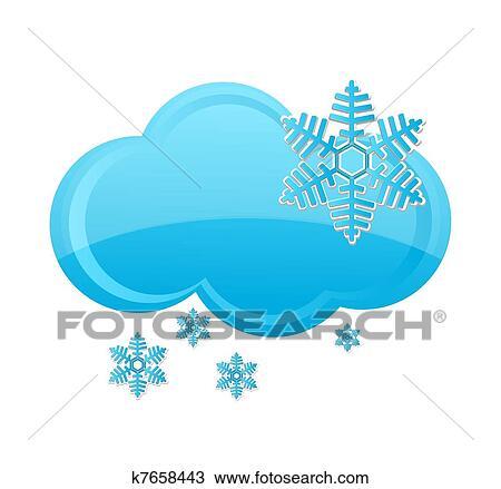 Clipart Of Weather Snow Cloud Symbol Blue Color K7658443 Search
