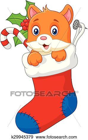 Christmas Stockings Cartoon.Cartoon Animal Cat In The Sock Chri Clip Art