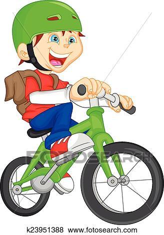 Cute boy riding bicycle Clip Art | k23951388 | Fotosearch