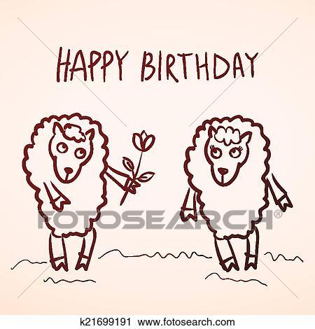 Clipart Gelukkige Verjaardag Card Gekke Schaap Meisje En