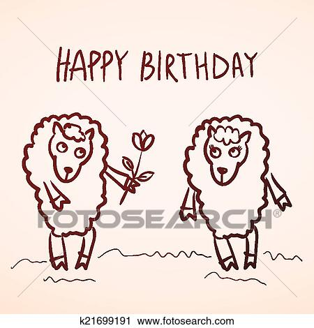 Clipart Of Happy Birthday Card Funny Sheep Girl And Boy With Flower