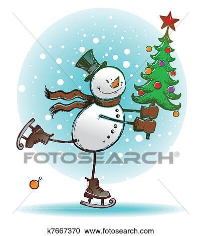 Weihnachtsbaum Gezeichnet.Hend Gezeichnet Vektor Skaten Schneemann Mit Weihnachtsbaum Clipart
